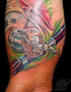 tatouage moulinet pêche