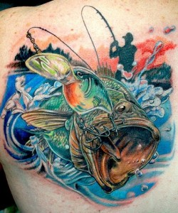 tatouage pêche black bass