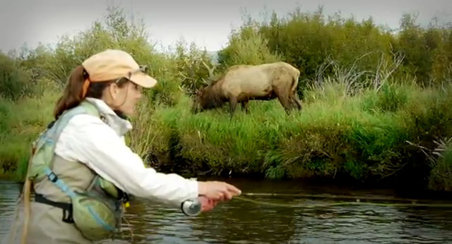femme guide de pêche dans le Colorado