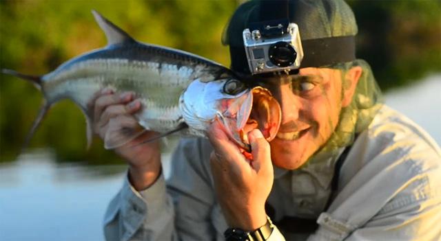 pêcheur et caméra GoPro