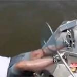 Le pêcheur tombe à l'eau