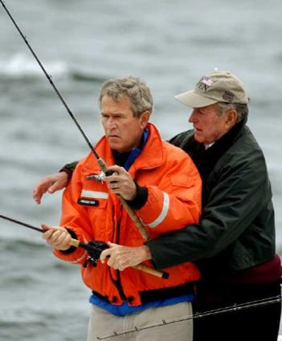 george bush à la pêche