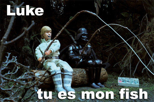Luke Skywalker et Dark Vador à la pêche Playmobil