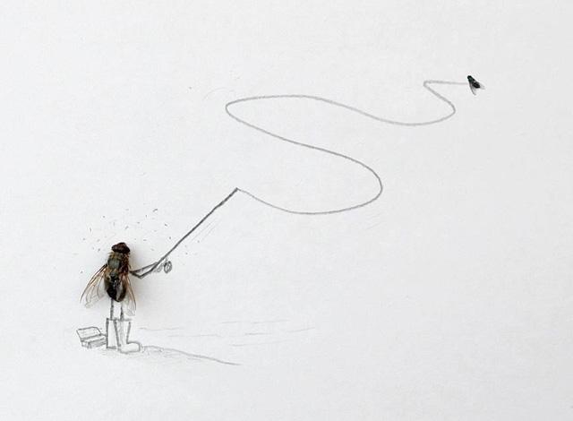 dessin de mouche qui pêche à la mouche