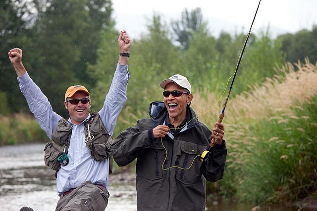 president Obama peche à la mouche