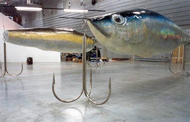 sculpture leurre de pêche