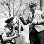Bourvil et Louis de Funès à la pêche