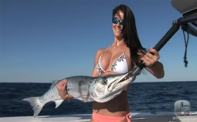 this woman caught a barracuda