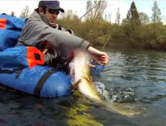 pêcheur float-tube gros brochet