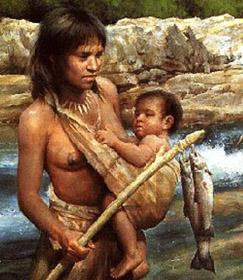 une femme préhistorique revient de la pêche avec des poissons