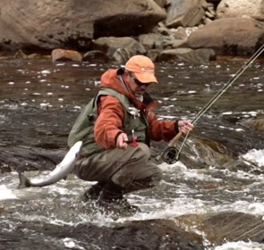 pêche du saumon à la mouche