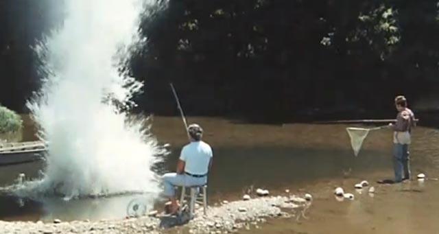 Quelques messieurs trop tranquilles, scène de pêche à la grenade.