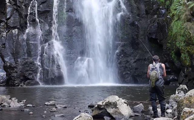 un pêcehur en pleine nature devant une cascade