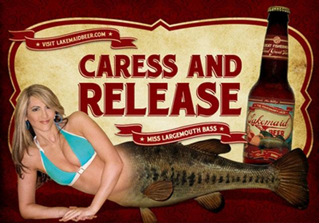 lakemaid_largemouth étiquette bouteille de bière pour pêcheurs