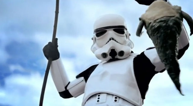 stormtrooper pêche le fils de Jabba le Hutt