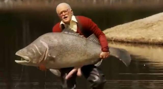 jackass peche d'un poisson avec un gros sexe