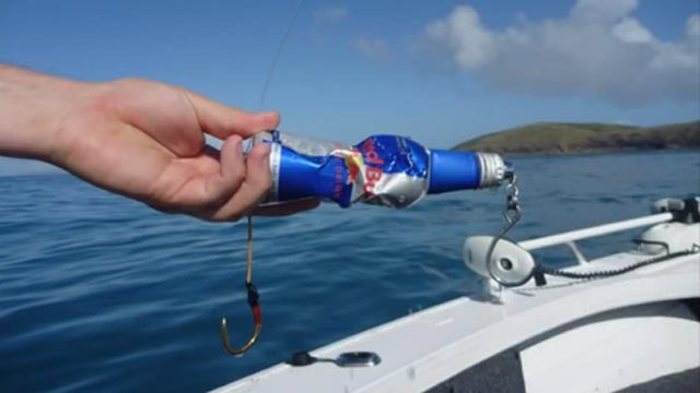 red bull fishing lure