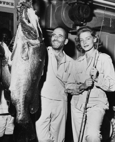 lauren bacall & bogie fishing