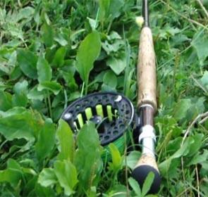 canne à mouche dans l'herbe, vidéo de pêche fully trip